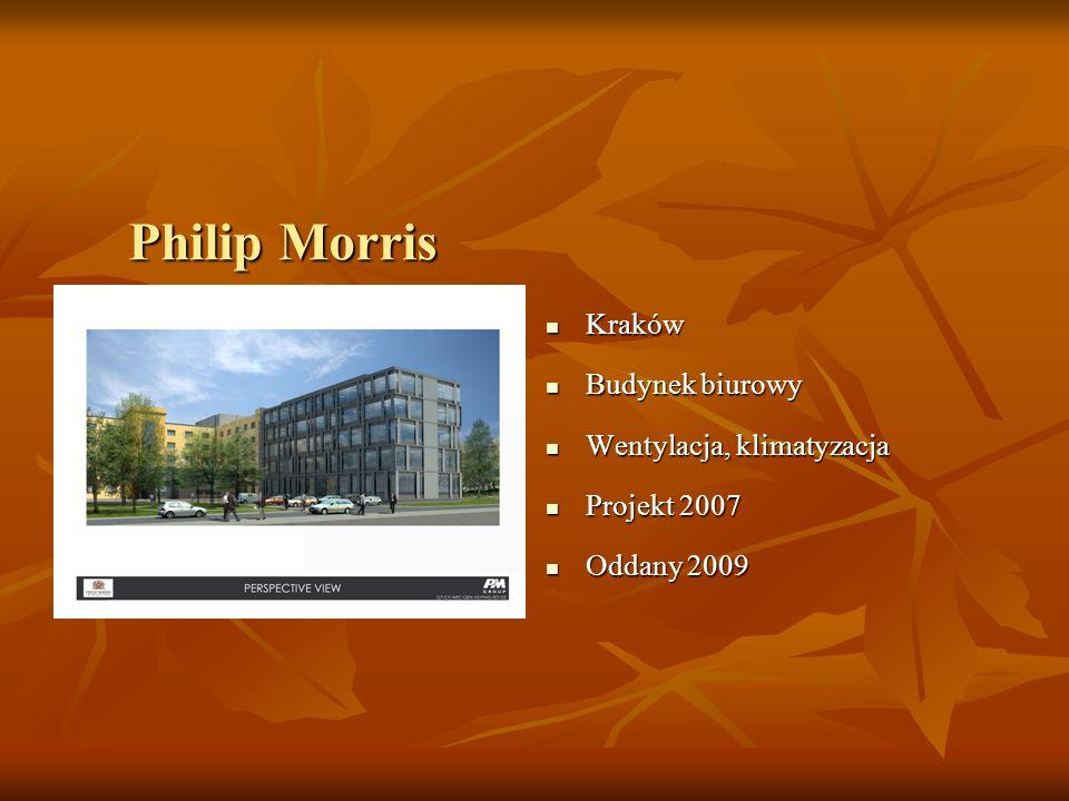 Philip Morris Kraków Kraków Budynek biurowy Budynek biurowy Wentylacja, klimatyzacja Wentylacja, klimatyzacja Projekt 2007 Projekt 2007 Oddany 2009 Oddany 2009