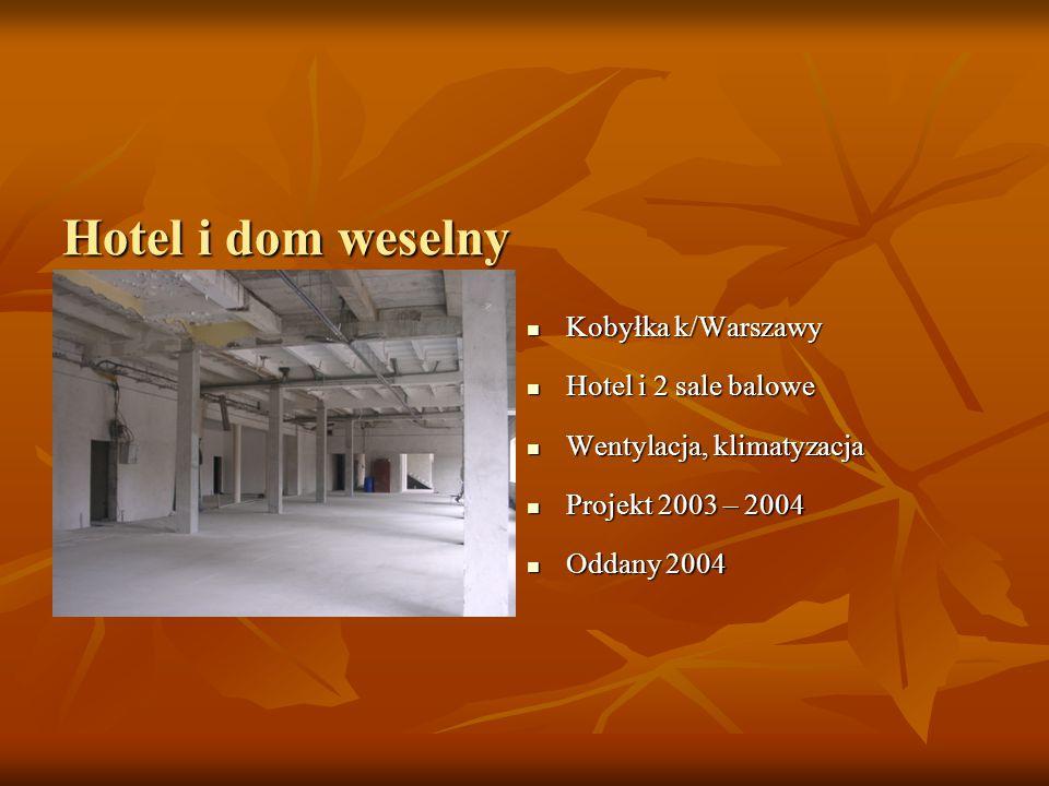 Hotel i dom weselny Kobyłka k/Warszawy Kobyłka k/Warszawy Hotel i 2 sale balowe Hotel i 2 sale balowe Wentylacja, klimatyzacja Wentylacja, klimatyzacja Projekt 2003 – 2004 Projekt 2003 – 2004 Oddany 2004 Oddany 2004
