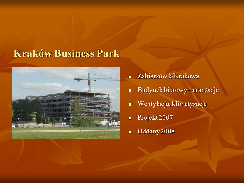 Kraków Business Park Zabierzów k/Krakowa Zabierzów k/Krakowa Budynek biurowy – aran ż acje Budynek biurowy – aran ż acje Wentylacja, klimatyzacja Wentylacja, klimatyzacja Projekt 2007 Projekt 2007 Oddany 2008 Oddany 2008