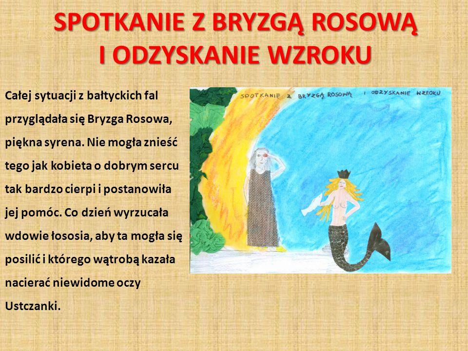 SPOTKANIE Z BRYZGĄ ROSOWĄ I ODZYSKANIE WZROKU Całej sytuacji z bałtyckich fal przyglądała się Bryzga Rosowa, piękna syrena. Nie mogła znieść tego jak