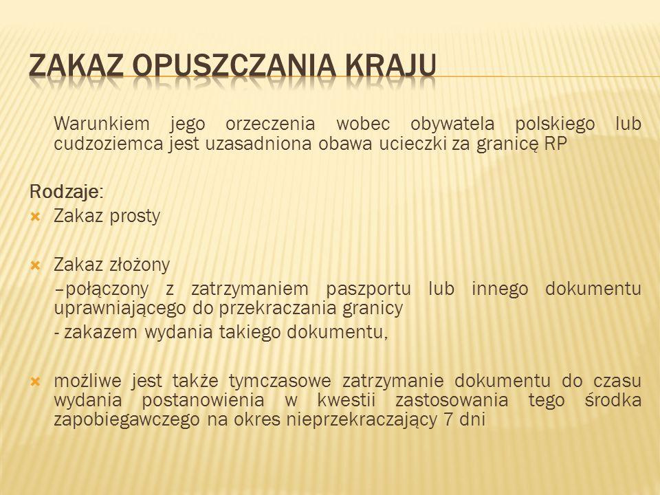 Warunkiem jego orzeczenia wobec obywatela polskiego lub cudzoziemca jest uzasadniona obawa ucieczki za granicę RP Rodzaje:  Zakaz prosty  Zakaz złoż