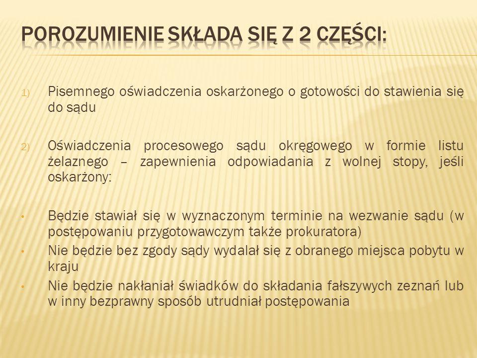 1) Pisemnego oświadczenia oskarżonego o gotowości do stawienia się do sądu 2) Oświadczenia procesowego sądu okręgowego w formie listu żelaznego – zape