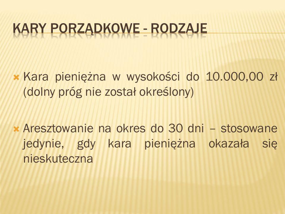  Kara pieniężna w wysokości do 10.000,00 zł (dolny próg nie został określony)  Aresztowanie na okres do 30 dni – stosowane jedynie, gdy kara pienięż