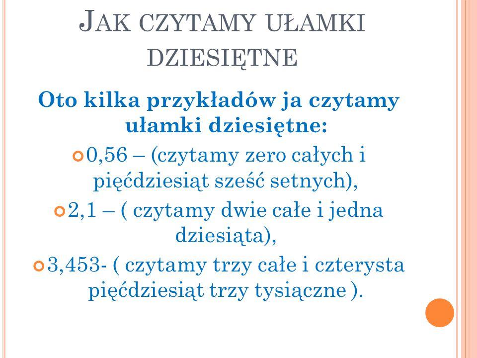 J AK CZYTAMY UŁAMKI DZIESIĘTNE Oto kilka przykładów ja czytamy ułamki dziesiętne: 0,56 – (czytamy zero całych i pięćdziesiąt sześć setnych), 2,1 – ( c