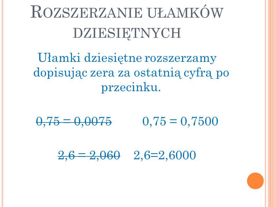 R OZSZERZANIE UŁAMKÓW DZIESIĘTNYCH Ułamki dziesiętne rozszerzamy dopisując zera za ostatnią cyfrą po przecinku. 0,75 = 0,0075 0,75 = 0,7500 2,6 = 2,06