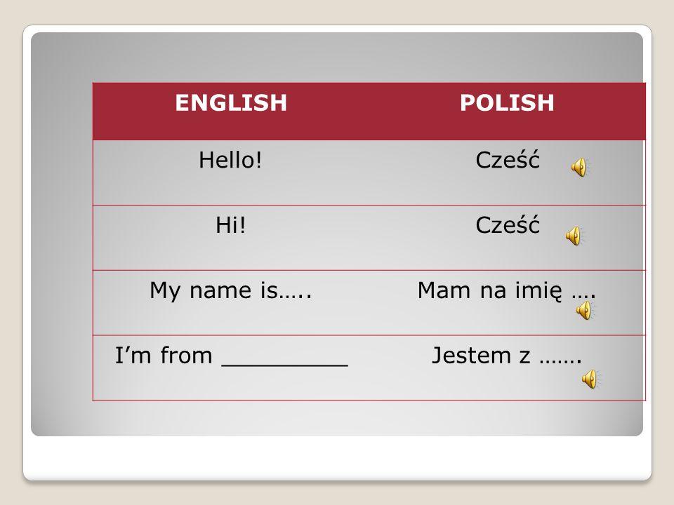 ENGLISHPOLISH Hello!Cześć Hi!Cześć My name is…..Mam na imię …. I'm from _________Jestem z …….