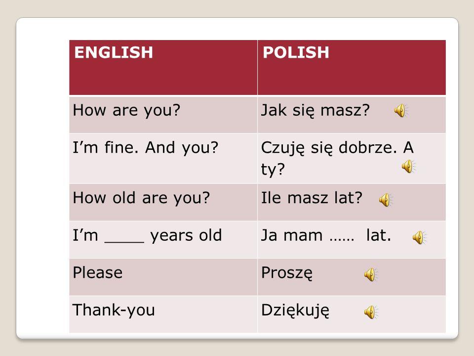 ENGLISHPOLISH How are you?Jak się masz.I'm fine. And you.