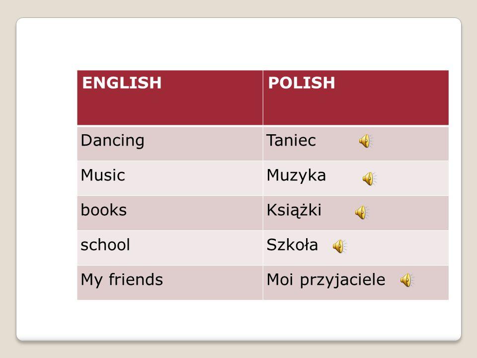 ENGLISHPOLISH DancingTaniec MusicMuzyka booksKsiążki schoolSzkoła My friendsMoi przyjaciele