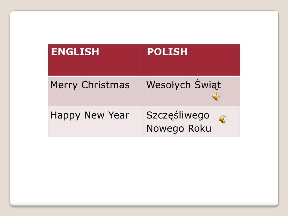 ENGLISHPOLISH Merry ChristmasWesołych Świąt Happy New YearSzczęśliwego Nowego Roku