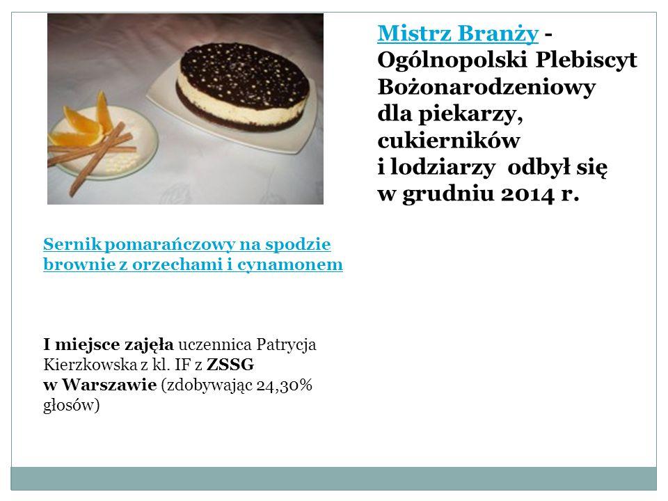 Sernik pomarańczowy na spodzie brownie z orzechami i cynamonem I miejsce zajęła uczennica Patrycja Kierzkowska z kl.