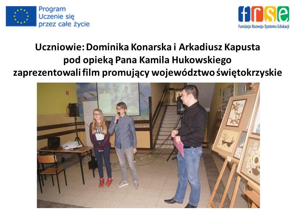 Uczniowie: Dominika Konarska i Arkadiusz Kapusta pod opieką Pana Kamila Hukowskiego zaprezentowali film promujący województwo świętokrzyskie