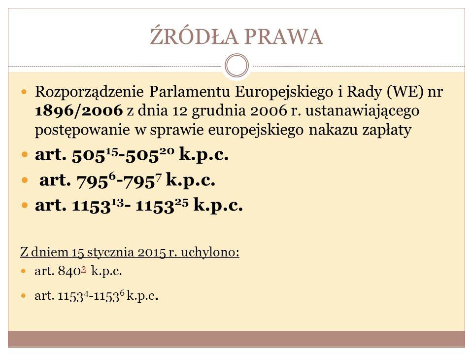 ŹRÓDŁA PRAWA Rozporządzenie Parlamentu Europejskiego i Rady (WE) nr 1896/2006 z dnia 12 grudnia 2006 r. ustanawiającego postępowanie w sprawie europej