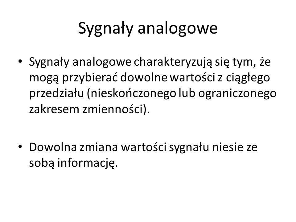 Sygnały analogowe Sygnały analogowe charakteryzują się tym, że mogą przybierać dowolne wartości z ciągłego przedziału (nieskończonego lub ograniczoneg