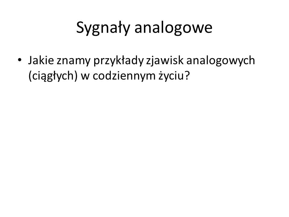Sygnały analogowe Jakie znamy przykłady zjawisk analogowych (ciągłych) w codziennym życiu?