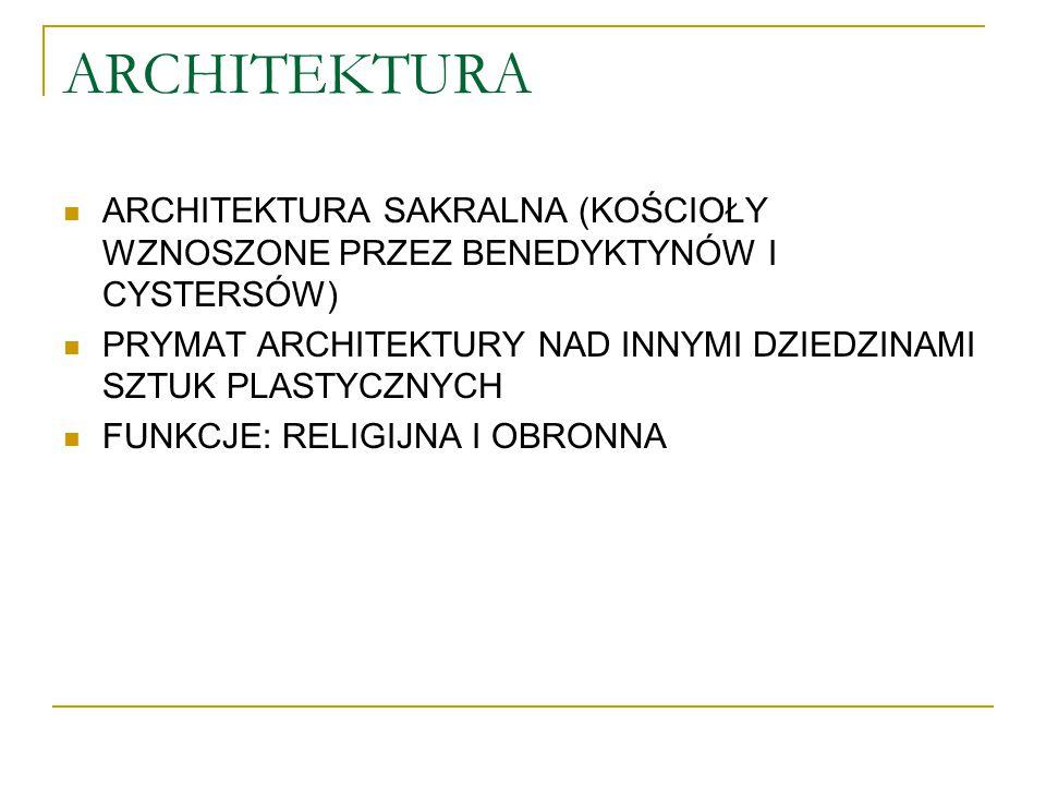 ARCHITEKTURA ARCHITEKTURA SAKRALNA (KOŚCIOŁY WZNOSZONE PRZEZ BENEDYKTYNÓW I CYSTERSÓW) PRYMAT ARCHITEKTURY NAD INNYMI DZIEDZINAMI SZTUK PLASTYCZNYCH F