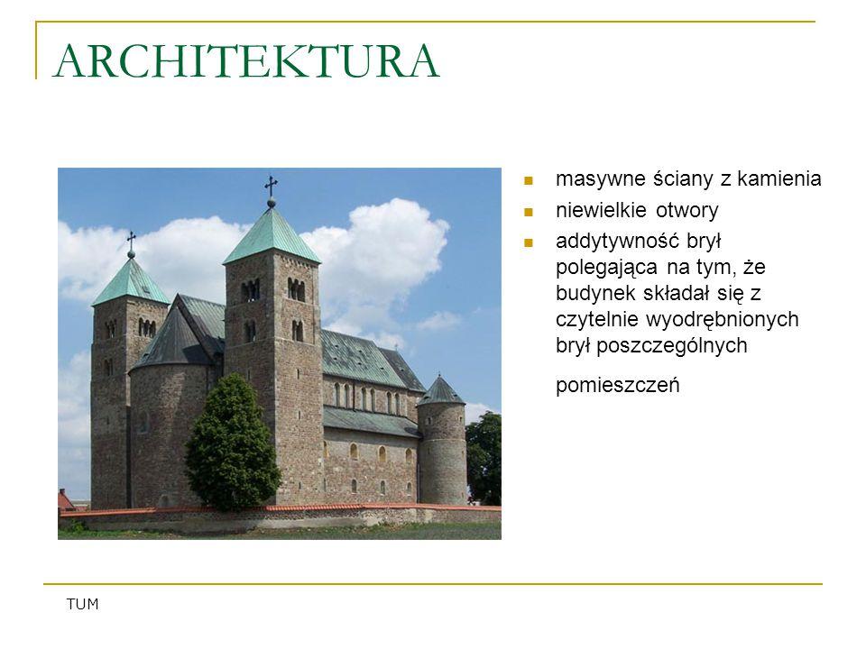 ARCHITEKTURA masywne ściany z kamienia niewielkie otwory addytywność brył polegająca na tym, że budynek składał się z czytelnie wyodrębnionych brył po