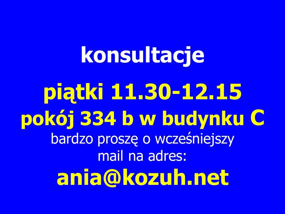 konsultacje piątki 11.30-12.15 pokój 334 b w budynku C bardzo proszę o wcześniejszy mail na adres: ania@kozuh.net