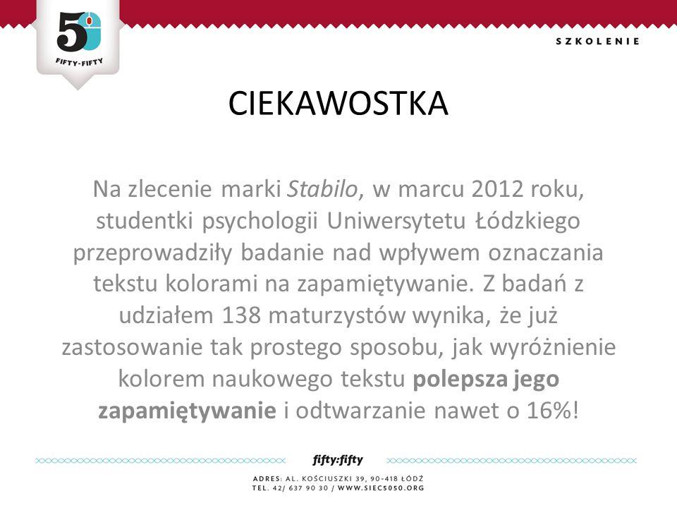 CIEKAWOSTKA Na zlecenie marki Stabilo, w marcu 2012 roku, studentki psychologii Uniwersytetu Łódzkiego przeprowadziły badanie nad wpływem oznaczania tekstu kolorami na zapamiętywanie.