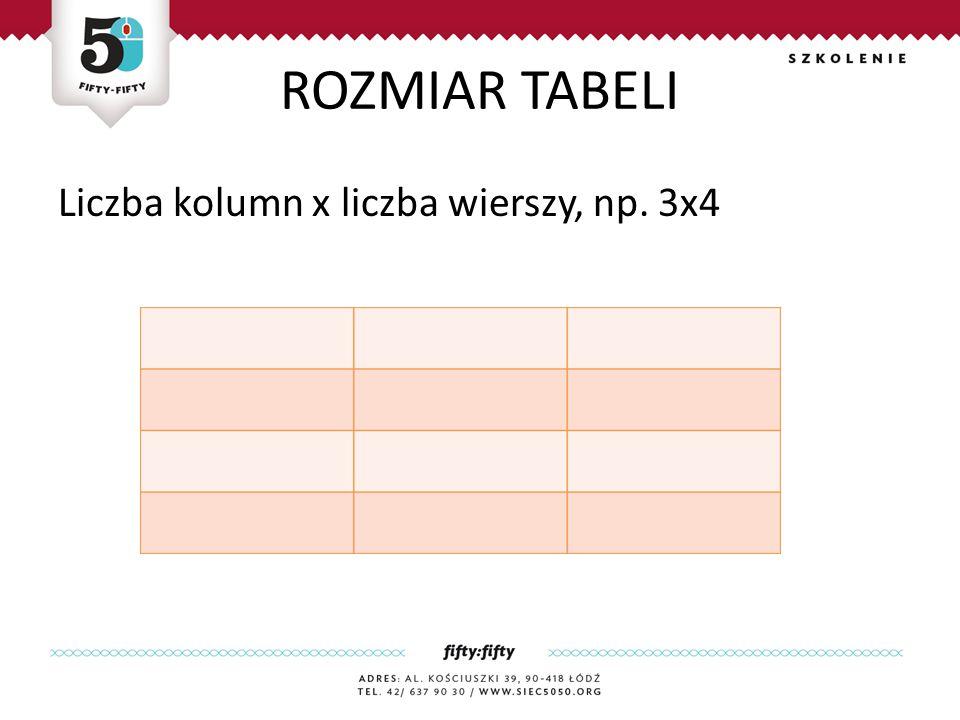 ROZMIAR TABELI Liczba kolumn x liczba wierszy, np. 3x4