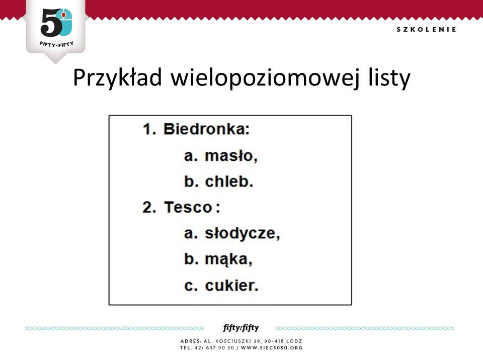 Przykład wielopoziomowej listy
