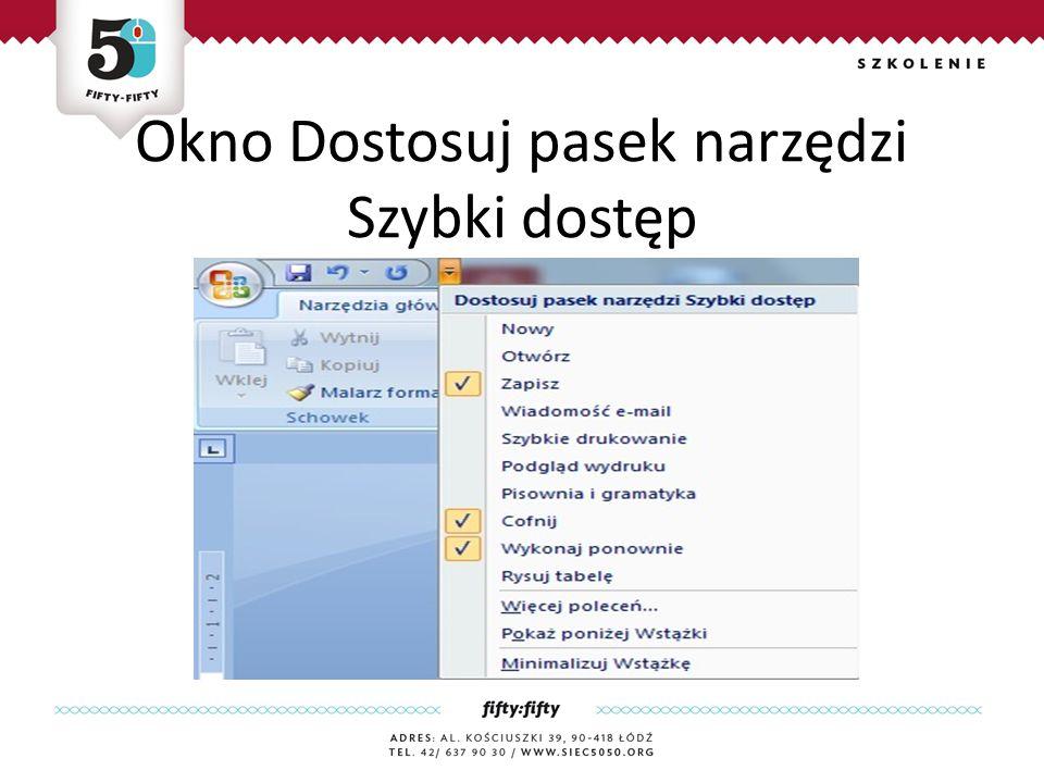 Okno Dostosuj pasek narzędzi Szybki dostęp Jest zaawnsowanym edytorem tekstu, który zawiera rozbudowany zestaw narzędzi do tworzenia różnego rodzaju dokumentów.