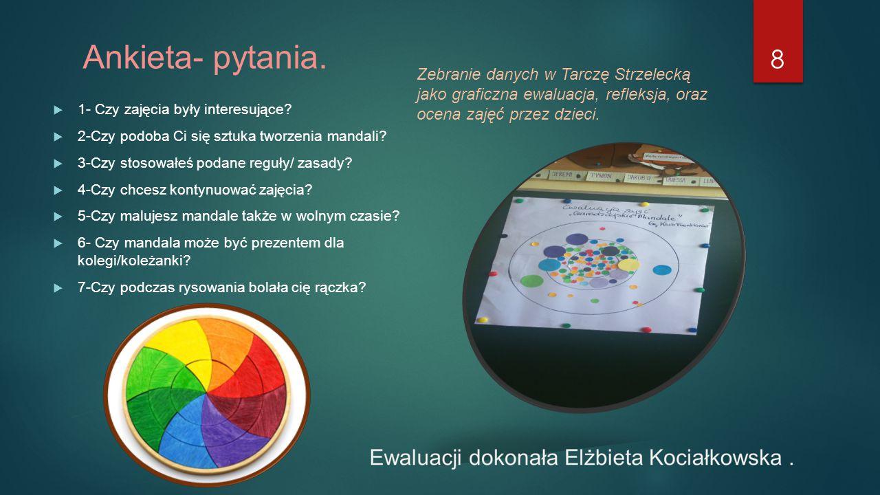 Ankieta- pytania.  1- Czy zajęcia były interesujące?  2-Czy podoba Ci się sztuka tworzenia mandali?  3-Czy stosowałeś podane reguły/ zasady?  4-Cz