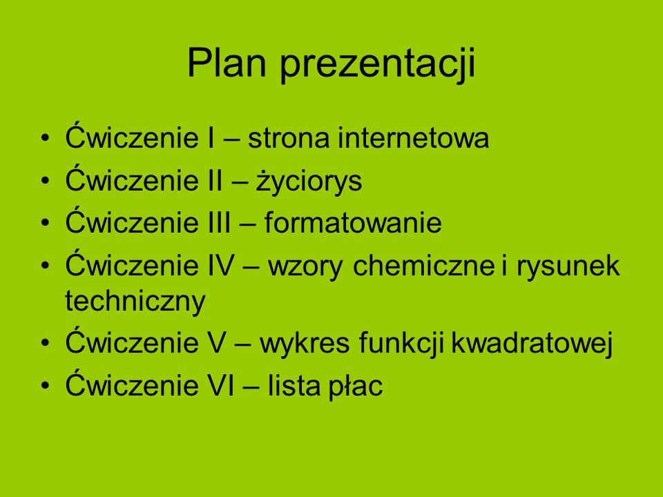 Ćwiczenie I – strona internetowa http://wizard.uek.krakow.pl/~s180834/