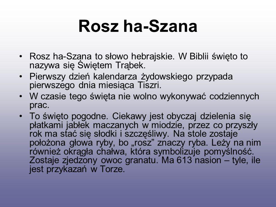 Rosz ha-Szana Rosz ha-Szana to słowo hebrajskie.W Biblii święto to nazywa się Świętem Trąbek.