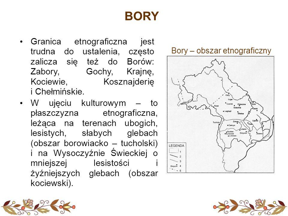 BORY W ujęciu kulturowym – to płaszczyzna etnograficzna, leżąca na terenach ubogich, lesistych, słabych glebach (obszar borowiacko – tucholski) i na W