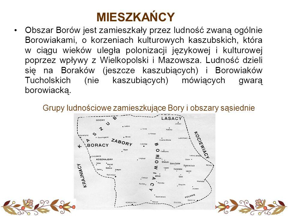 MIESZKAŃCY Obszar Borów jest zamieszkały przez ludność zwaną ogólnie Borowiakami, o korzeniach kulturowych kaszubskich, która w ciągu wieków uległa po