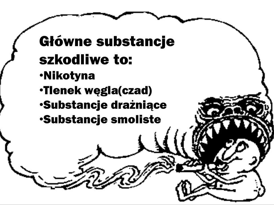 Główne substancje szkodliwe to: Nikotyna Tlenek węgla(czad) Substancje drażniące Substancje smoliste