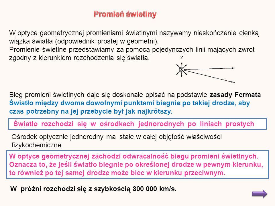 W optyce geometrycznej promieniami świetlnymi nazywamy nieskończenie cienką wiązka światła (odpowiednik prostej w geometrii).