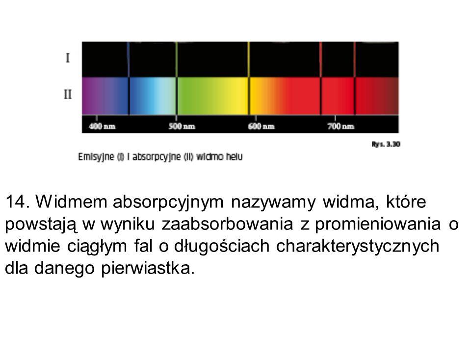14. Widmem absorpcyjnym nazywamy widma, które powstają w wyniku zaabsorbowania z promieniowania o widmie ciągłym fal o długościach charakterystycznych