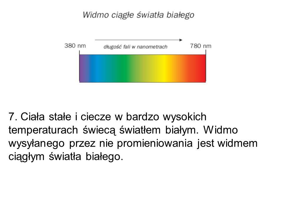 7. Ciała stałe i ciecze w bardzo wysokich temperaturach świecą światłem białym. Widmo wysyłanego przez nie promieniowania jest widmem ciągłym światła