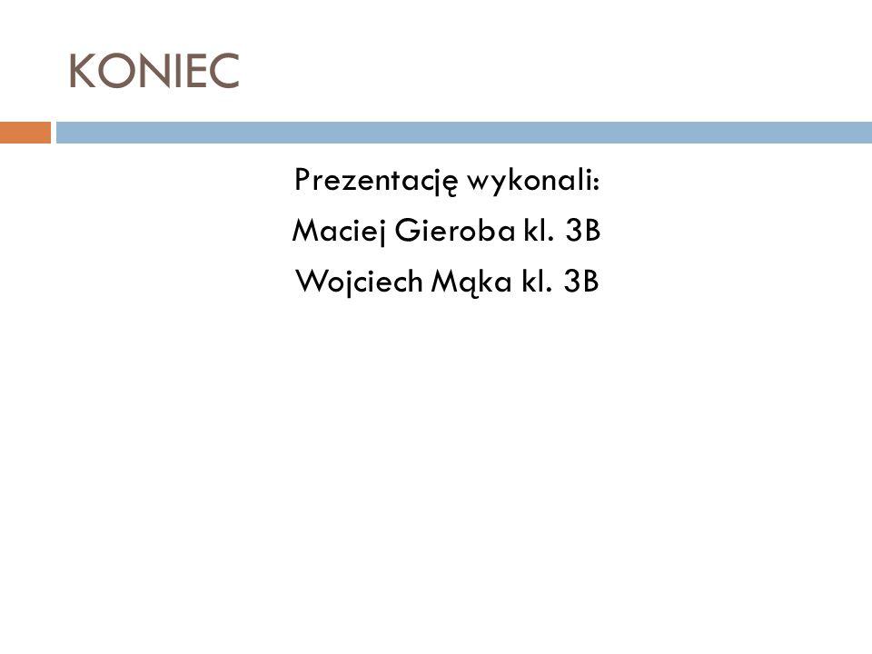 KONIEC Prezentację wykonali: Maciej Gieroba kl. 3B Wojciech Mąka kl. 3B
