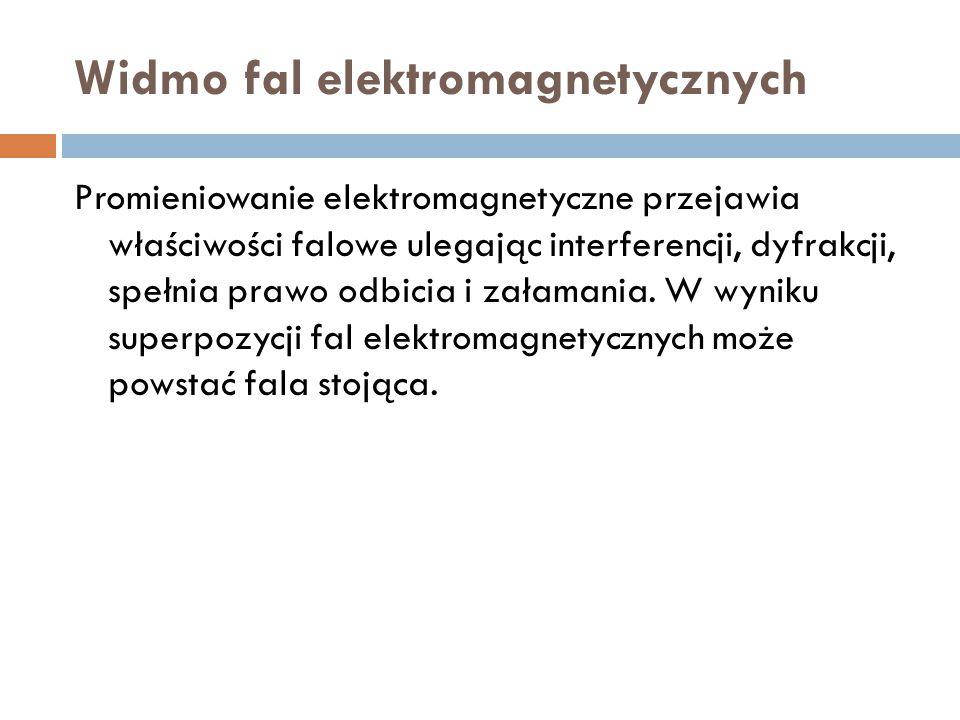 Widmo fal elektromagnetycznych Promieniowanie elektromagnetyczne przejawia właściwości falowe ulegając interferencji, dyfrakcji, spełnia prawo odbicia