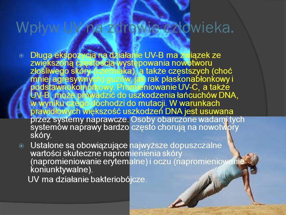 Wpływ UV na zdrowie człowieka  Promieniowanie UV-A jest mniej szkodliwe niż promieniowanie z pozostałych zakresów, ale uszkadza włókna kolagenowe w s