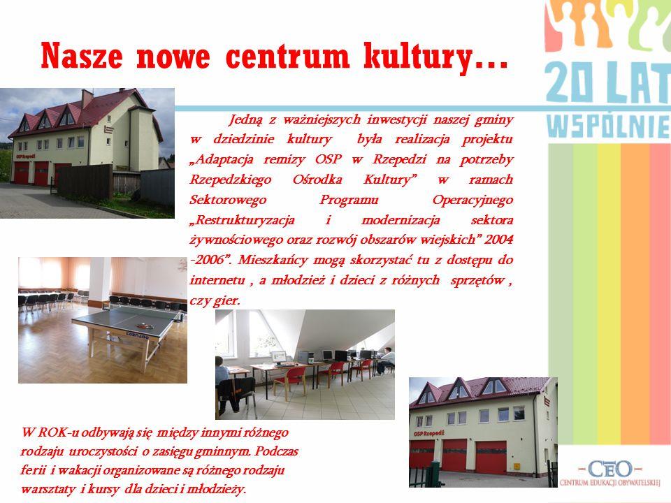 """Jedną z ważniejszych inwestycji naszej gminy w dziedzinie kultury była realizacja projektu """"Adaptacja remizy OSP w Rzepedzi na potrzeby Rzepedzkiego O"""