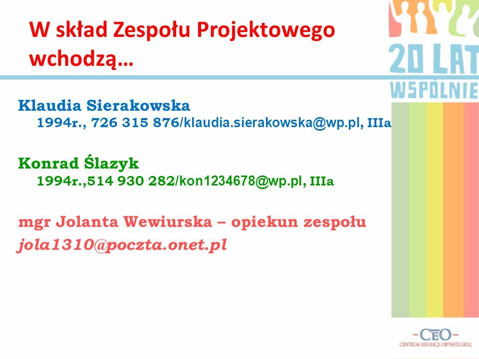Klaudia Sierakowska 1994r., 726 315 876 /klaudia.sierakowska@wp.pl, IIIa Konrad Ślazyk 1994r.,514 930 282 /kon1234678@wp.pl, IIIa mgr Jolanta Wewiursk