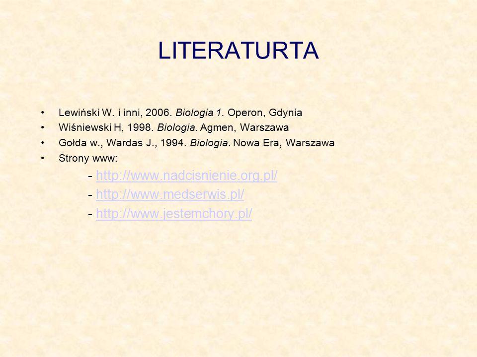 LITERATURTA Lewiński W. i inni, 2006. Biologia 1. Operon, Gdynia Wiśniewski H, 1998. Biologia. Agmen, Warszawa Gołda w., Wardas J., 1994. Biologia. No
