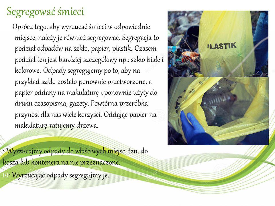Segregować śmieci Oprócz tego, aby wyrzucać śmieci w odpowiednie miejsce, należy je również segregować. Segregacja to podział odpadów na szkło, papier