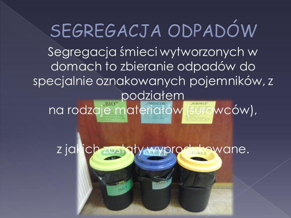 Segregacja śmieci wytworzonych w domach to zbieranie odpadów do specjalnie oznakowanych pojemników, z podziałem na rodzaje materiałów (surowców), z jakich zostały wyprodukowane.