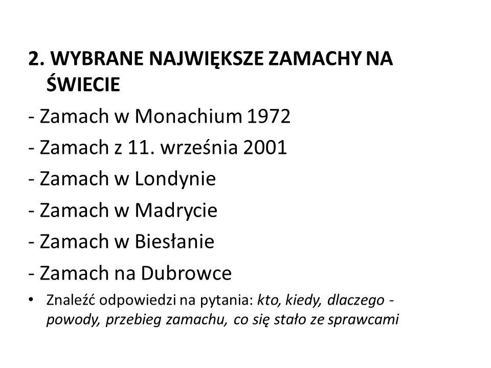 2. WYBRANE NAJWIĘKSZE ZAMACHY NA ŚWIECIE - Zamach w Monachium 1972 - Zamach z 11. września 2001 - Zamach w Londynie - Zamach w Madrycie - Zamach w Bie