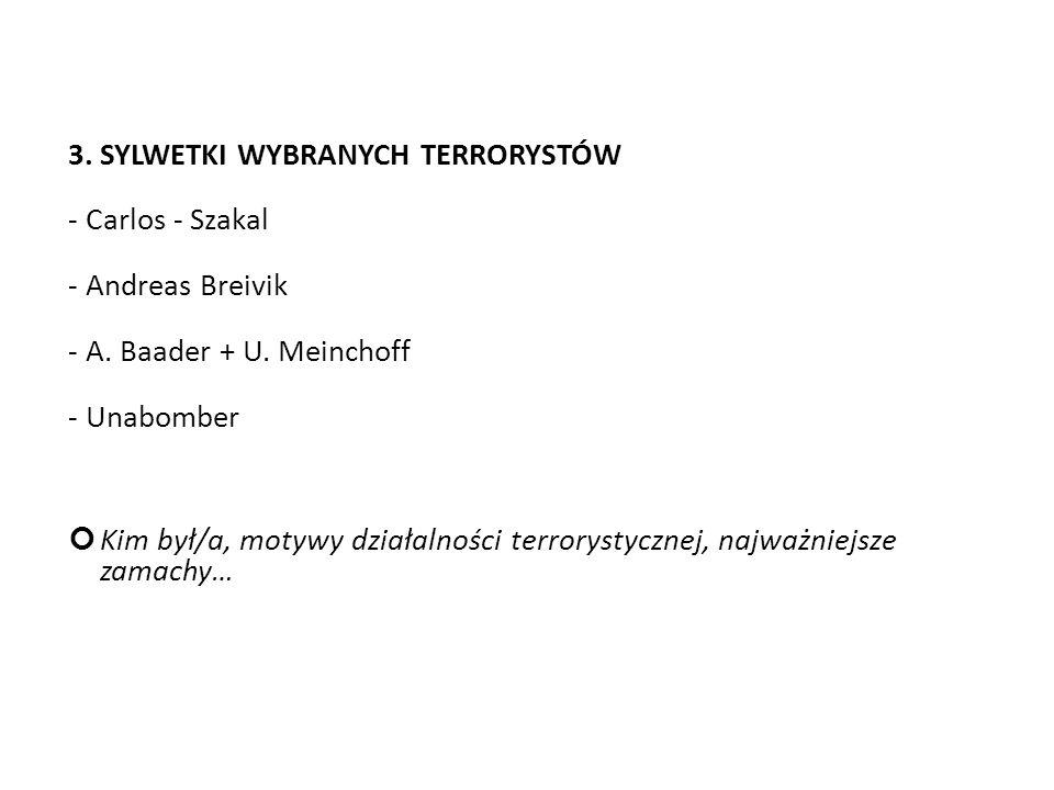 3. SYLWETKI WYBRANYCH TERRORYSTÓW - Carlos - Szakal - Andreas Breivik - A. Baader + U. Meinchoff - Unabomber Kim był/a, motywy działalności terrorysty