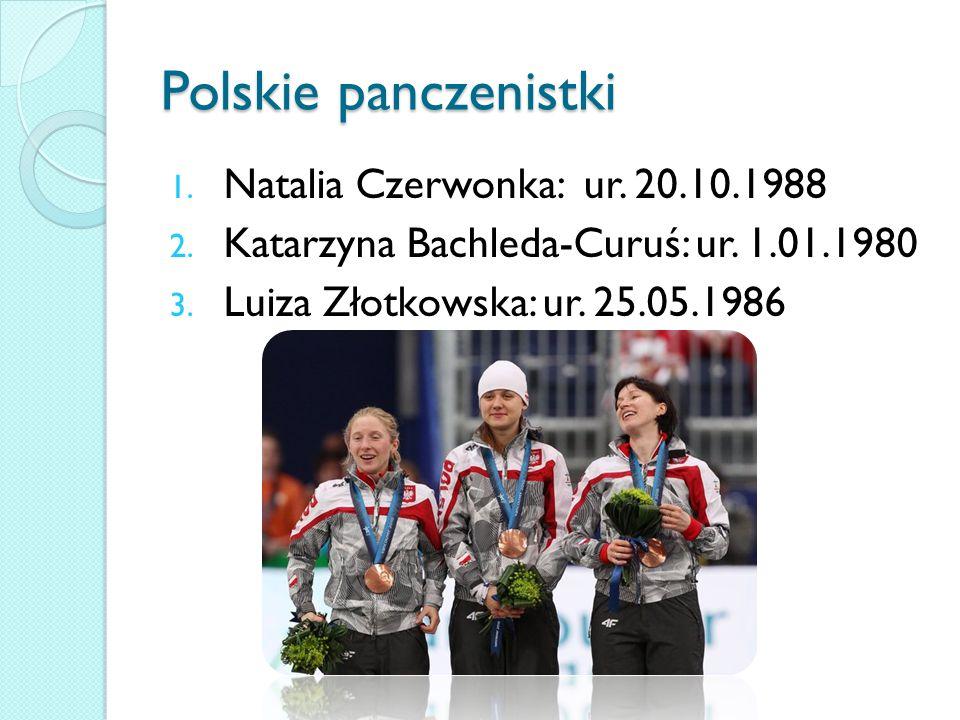 Polskie panczenistki 1.Natalia Czerwonka: ur. 20.10.1988 2.