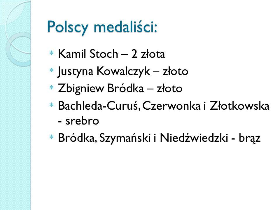 Polscy medaliści: * Kamil Stoch – 2 złota * Justyna Kowalczyk – złoto * Zbigniew Bródka – złoto * Bachleda-Curuś, Czerwonka i Złotkowska - srebro * Bródka, Szymański i Niedźwiedzki - brąz