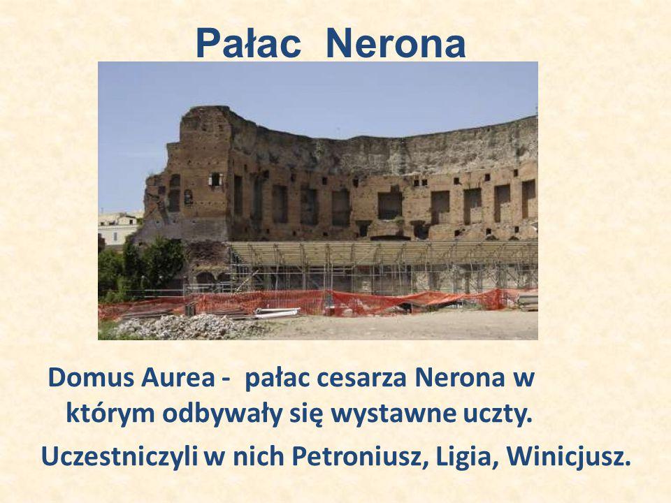 Pałac Nerona Domus Aurea - pałac cesarza Nerona w którym odbywały się wystawne uczty. Uczestniczyli w nich Petroniusz, Ligia, Winicjusz.