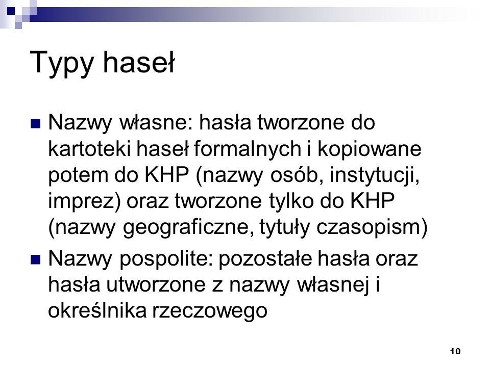 10 Typy haseł Nazwy własne: hasła tworzone do kartoteki haseł formalnych i kopiowane potem do KHP (nazwy osób, instytucji, imprez) oraz tworzone tylko