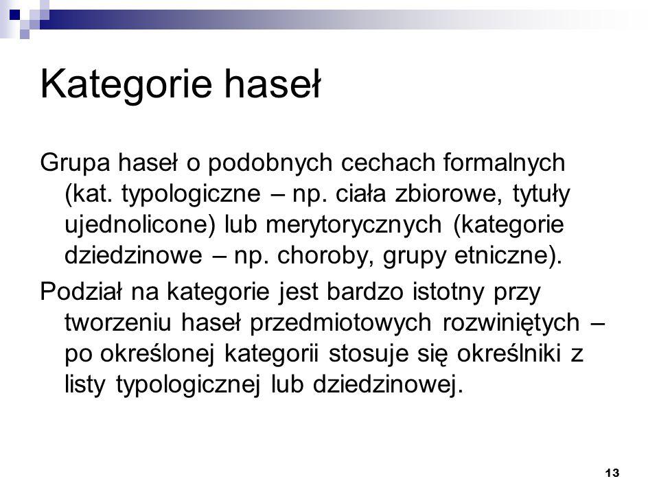13 Kategorie haseł Grupa haseł o podobnych cechach formalnych (kat. typologiczne – np. ciała zbiorowe, tytuły ujednolicone) lub merytorycznych (katego