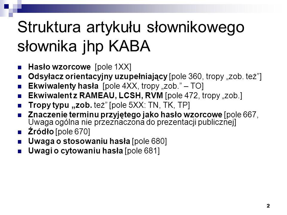 """2 Struktura artykułu słownikowego słownika jhp KABA Hasło wzorcowe [pole 1XX] Odsyłacz orientacyjny uzupełniający [pole 360, tropy """"zob. też""""] Ekwiwal"""